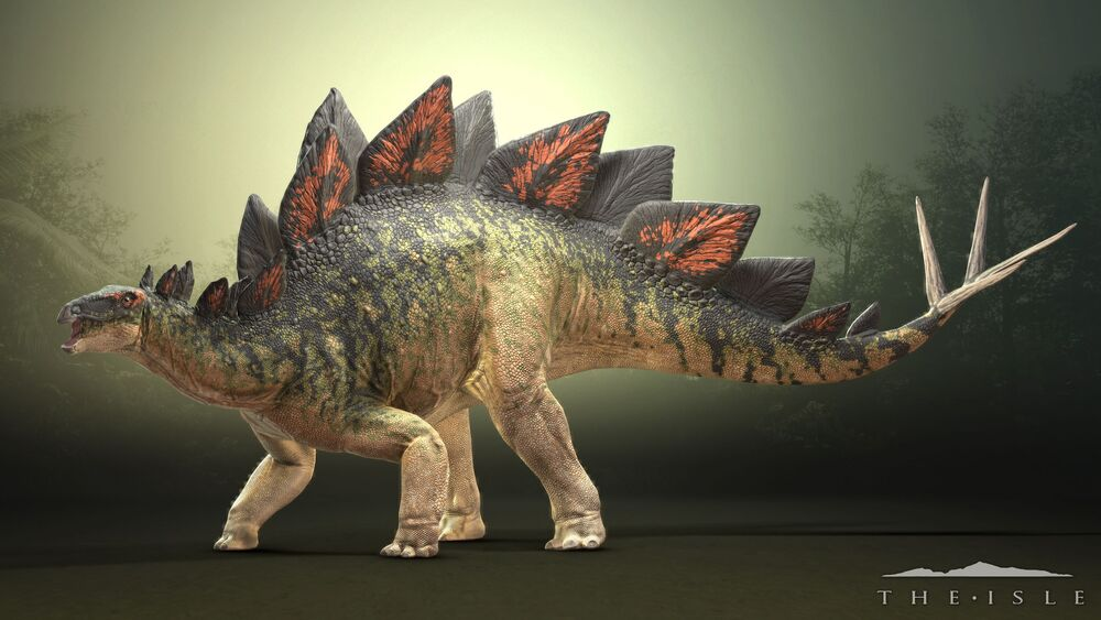 Stegosaurus with a Somber Bcakground