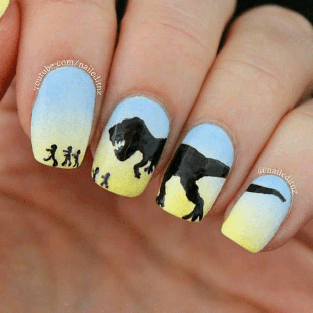 T Rex Nail with Beautiful Background 2