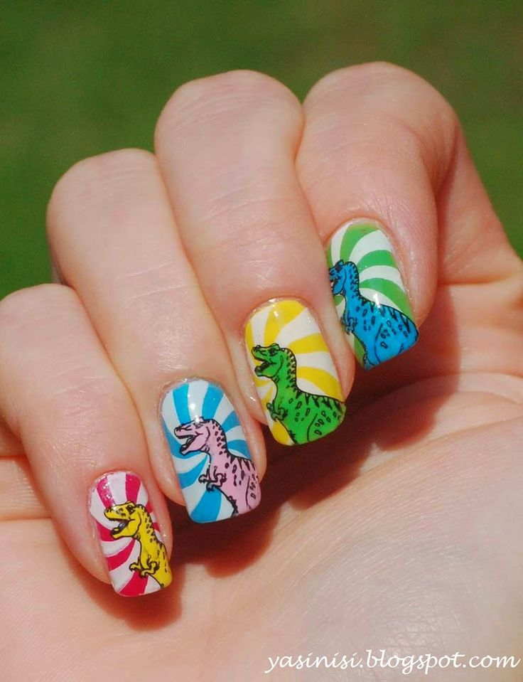 T. Rex Nails with Different Colors Background