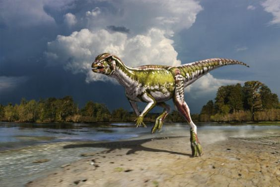 illustration of a small green and gray dinosaur running on land