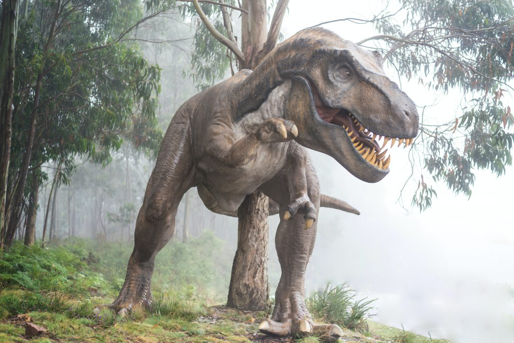 brown T. rex statue in the middle of a forest