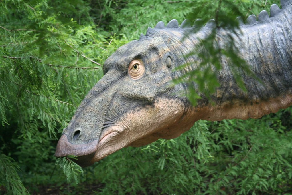 brown dinosaur statue eating leaves in a forest