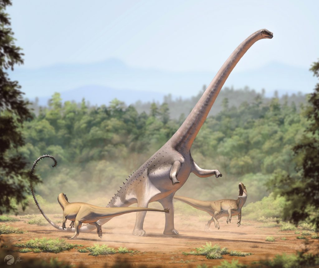 illustration of a forest with a long-necked dinosaur in the middle of two small brown dinosaurs