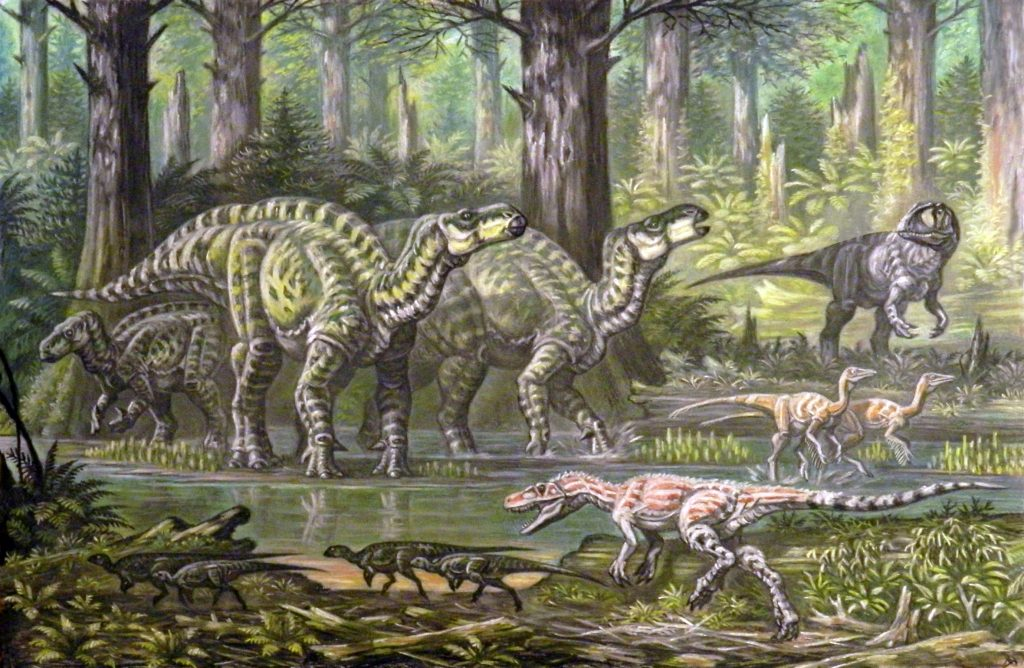 illustration of small black dinosaurs beside a body of water and green large dinosaurs across the water