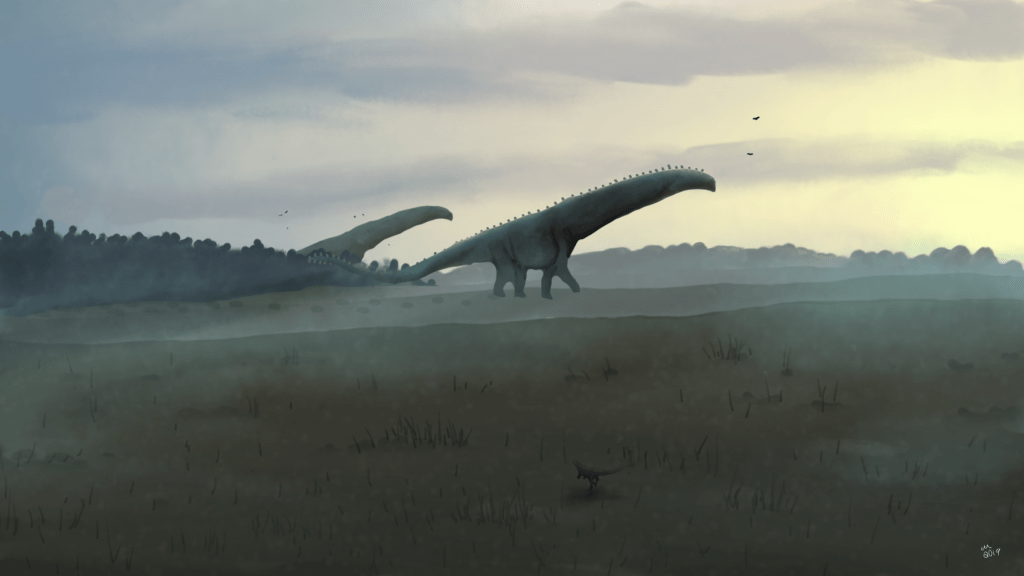 illustration of two long-necked dinosaurs walking in a dark green field with trees on the side