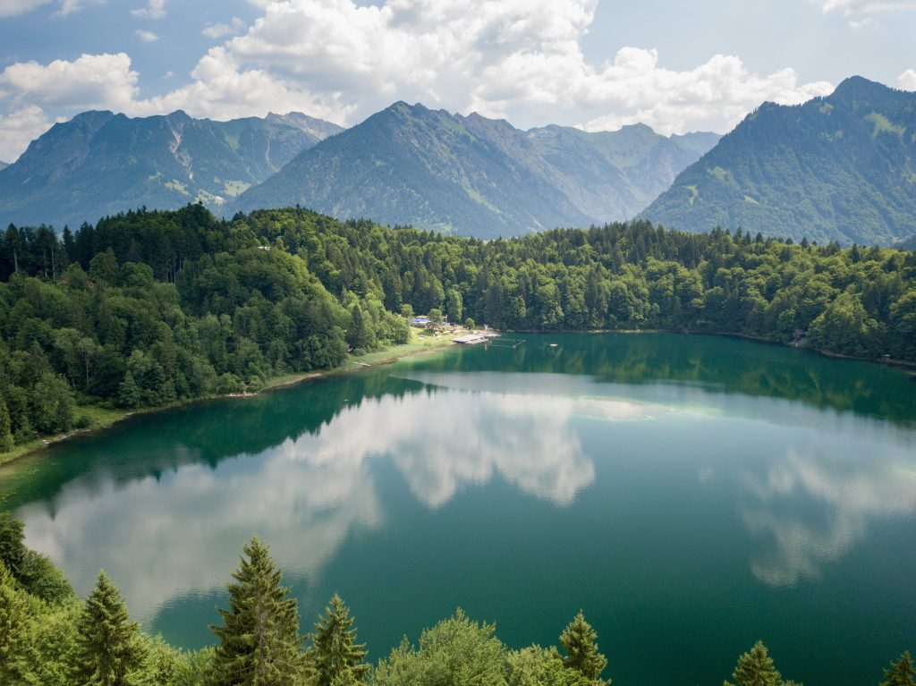 lake surrounded by forests and mountains