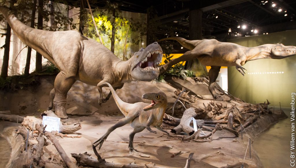 sculptures of running brown dinosaurs on display