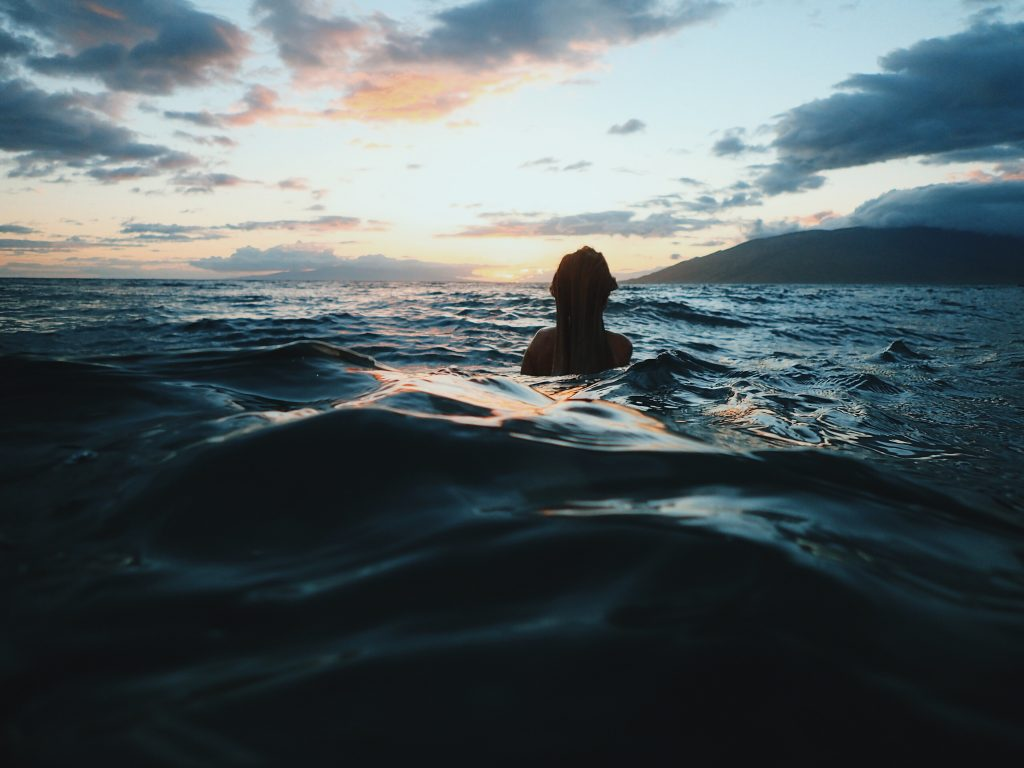 woman swimming in the sea