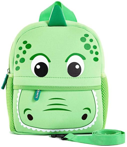 a green dinosaur head backpack
