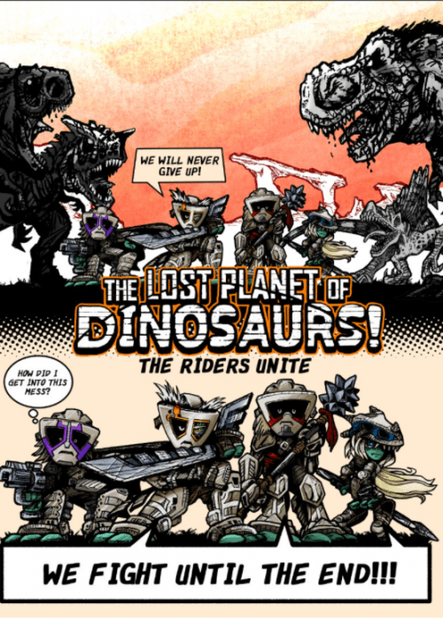 dinosaur-comics-a-group-of-armored-heroes-and-dinosaurs-in-a-comics-panel-from-the-webtoon-The-Lost-Planet-of-Dinosaurs-by-Bobby-Peet