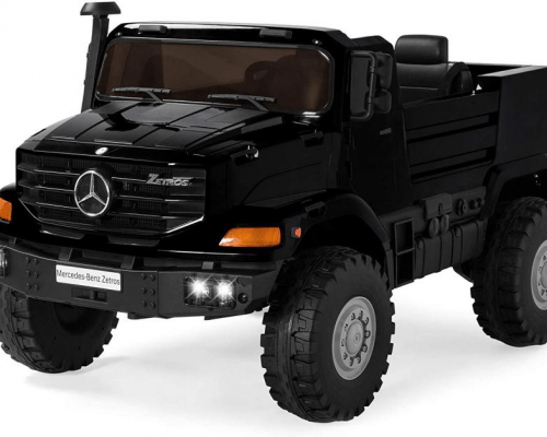 electric-rides-for-kids-a-big-black-truck-for-kids-with-white-front-lights-turned-on