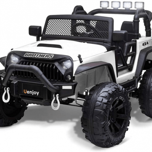 electric-rides-for-kids-a-big-white-and-black-truck-for-kids-with-4-lights-on-its-back-bars