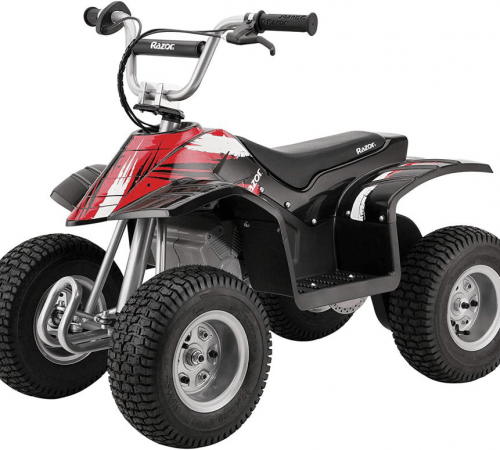 electric-rides-for-kids-a-black-all-terrain-vehicle-with-a-red-front-design