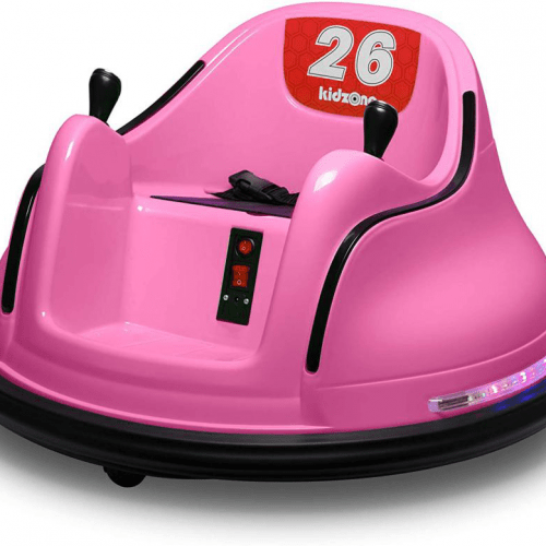 electric-rides-for-kids-a-pink-bumper-car-for-kids-with-two-joysticks-buttons-seatbelts-and-a-red-sticker-with-the-number-26-written
