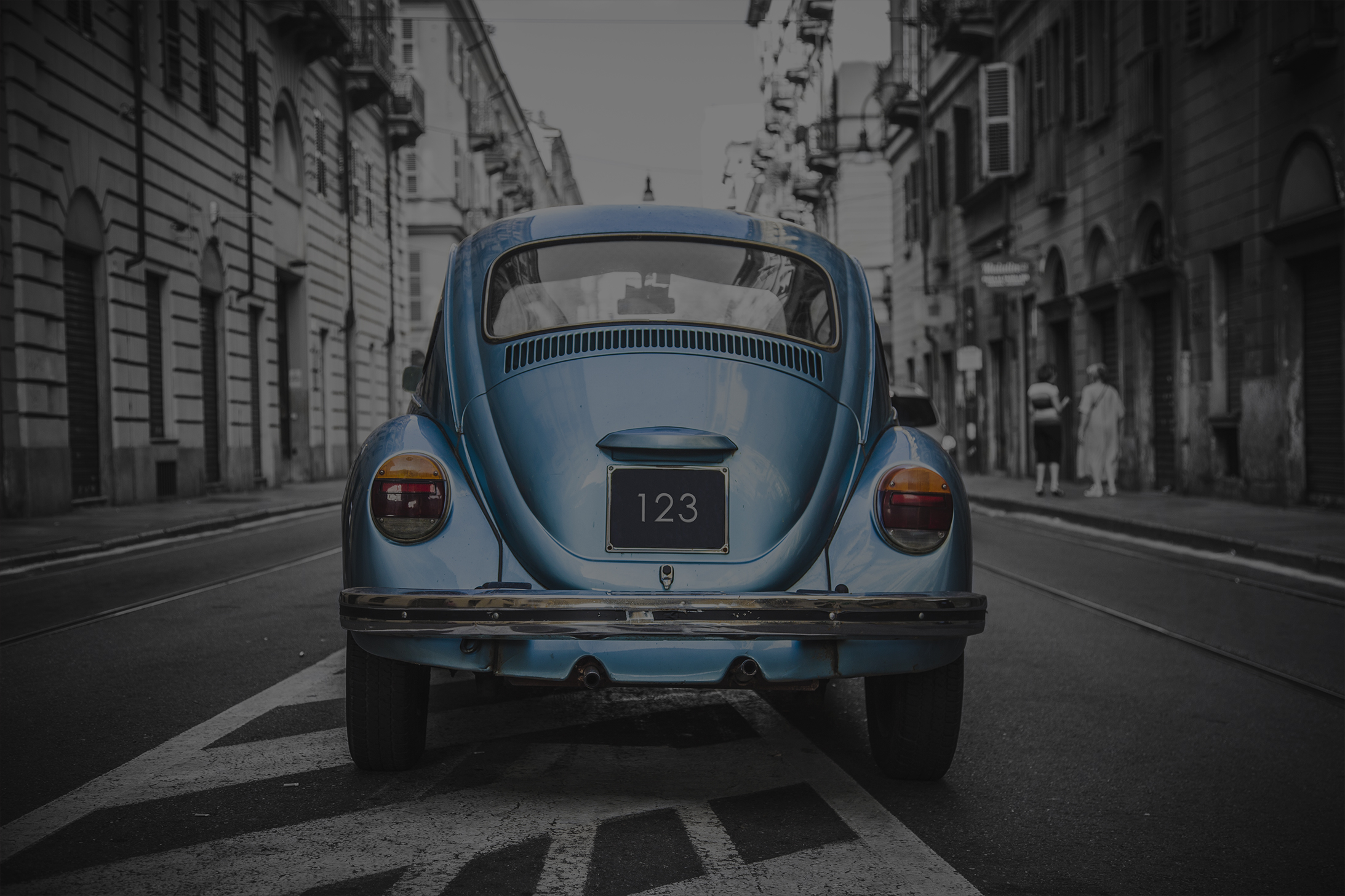 powder blue VW beetle car