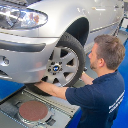 Gallery of images mot tester checking wheel alignment on a silver car