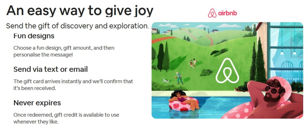 Airbnb launched its gift card service in the UK