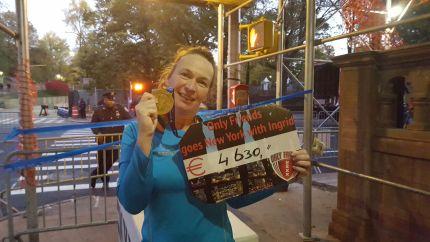 Onze Ingrid na afloop van de NY Marathon