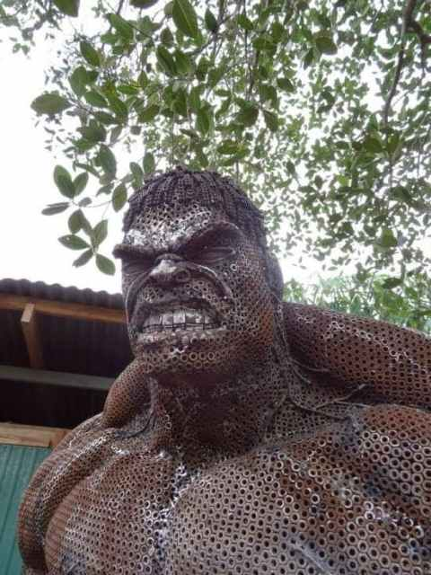 Recycled Hulk sculpture