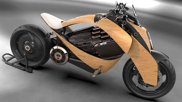Eco-friendly motorcycle with wooden body