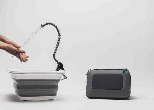 Solar-powered collapsible sink