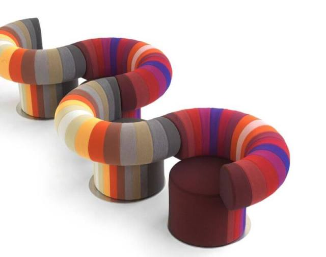 Colorful interconnecting lounge chair