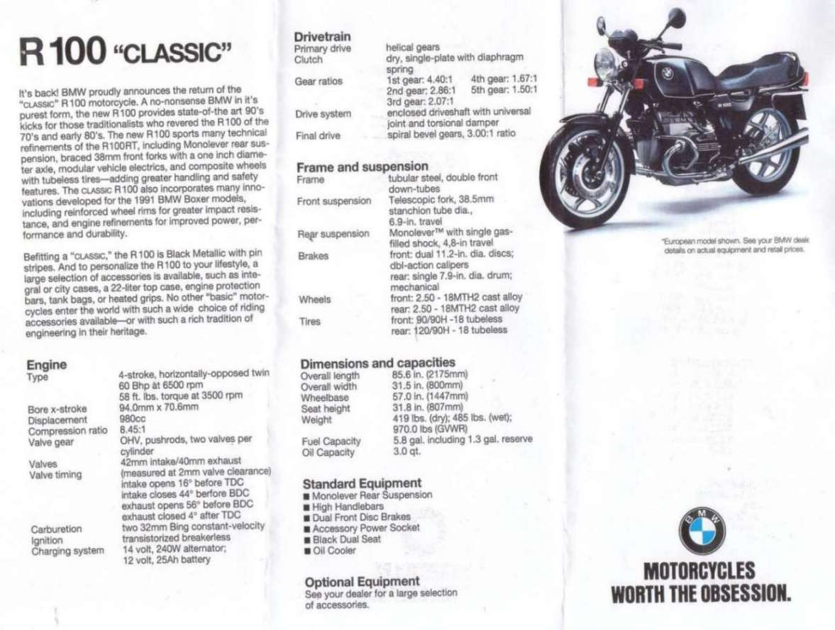 1991 BMW R100RT Mono: pics, specs and information