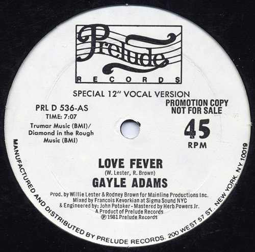 Gayle Adams ‎– Love Fever