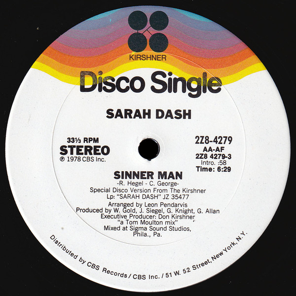 Sarah Dash ‎- Sinner Man
