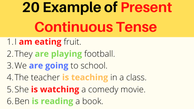 20 Examples of Present Continuous Tense