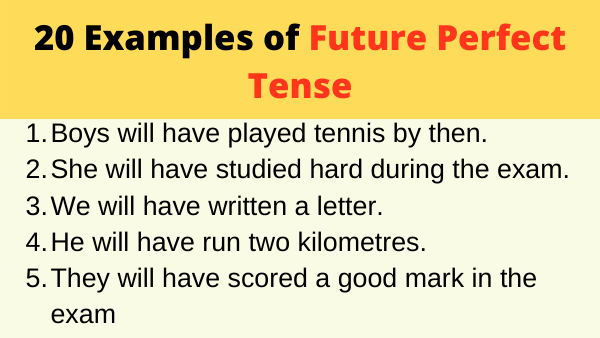 Examples of Future Perfect Tense