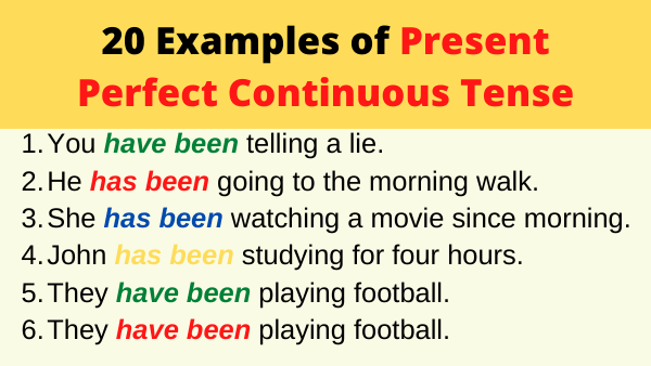 Examples of Present Perfect Continuous Tense