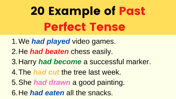 Examples of Past Perfect Tense