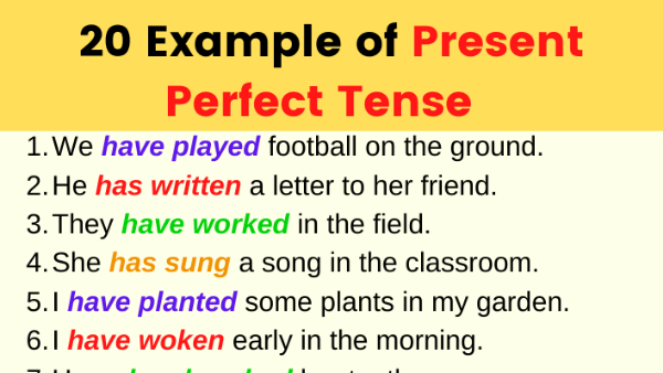 Examples of Present Perfect Tense