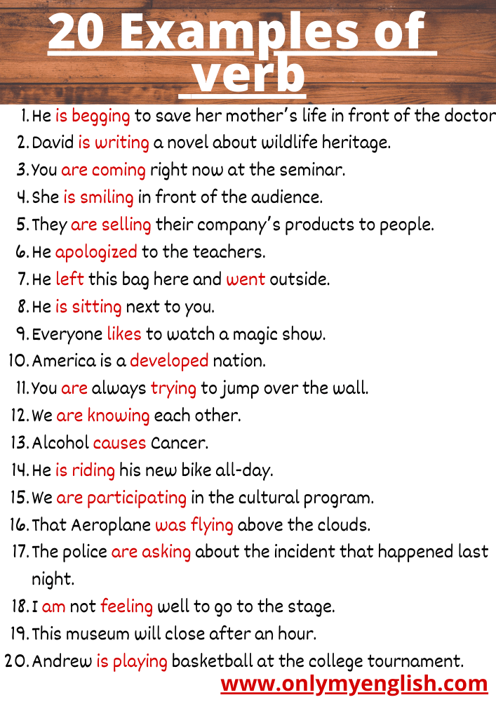 examples of verb