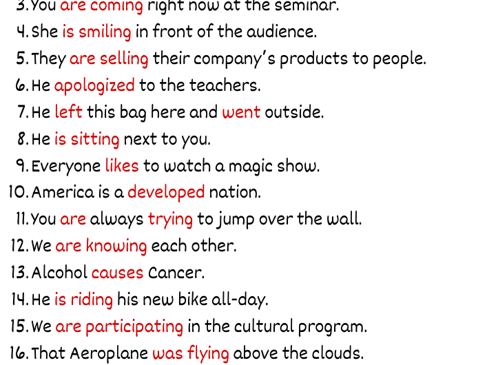 Examples of Verb in Sentences