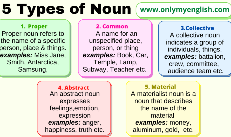 Types of Noun: Definition, and Examples