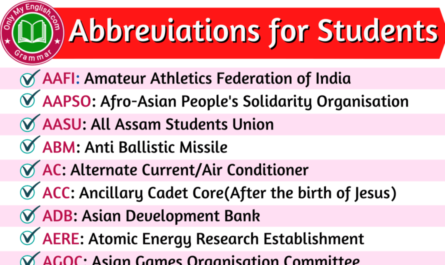 List of Abbreviations for Students in English