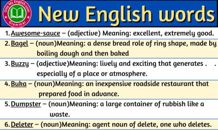 New English words with meaning and sentence