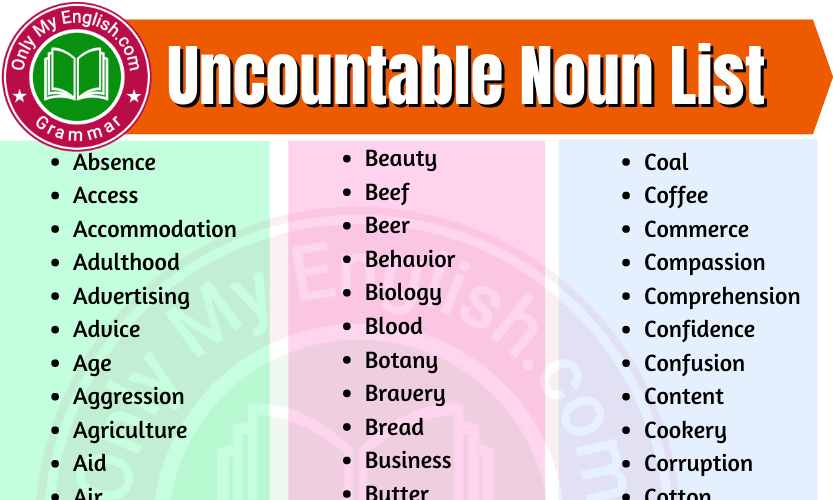 Uncountable Nouns List in English