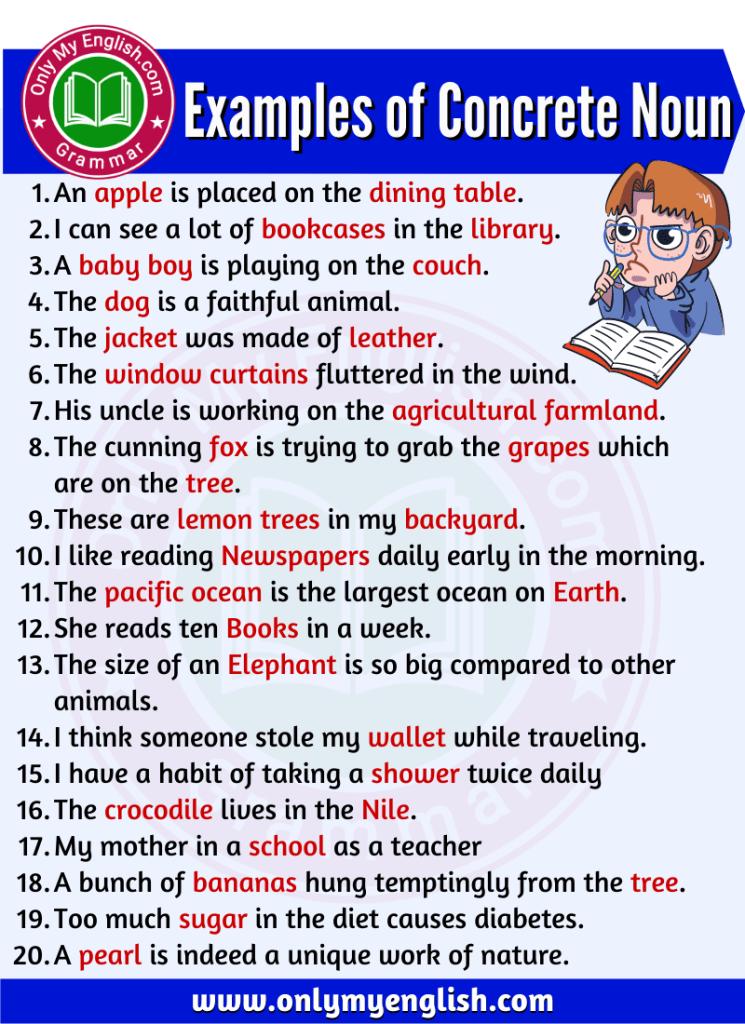 examples of concrete noun are in sentences