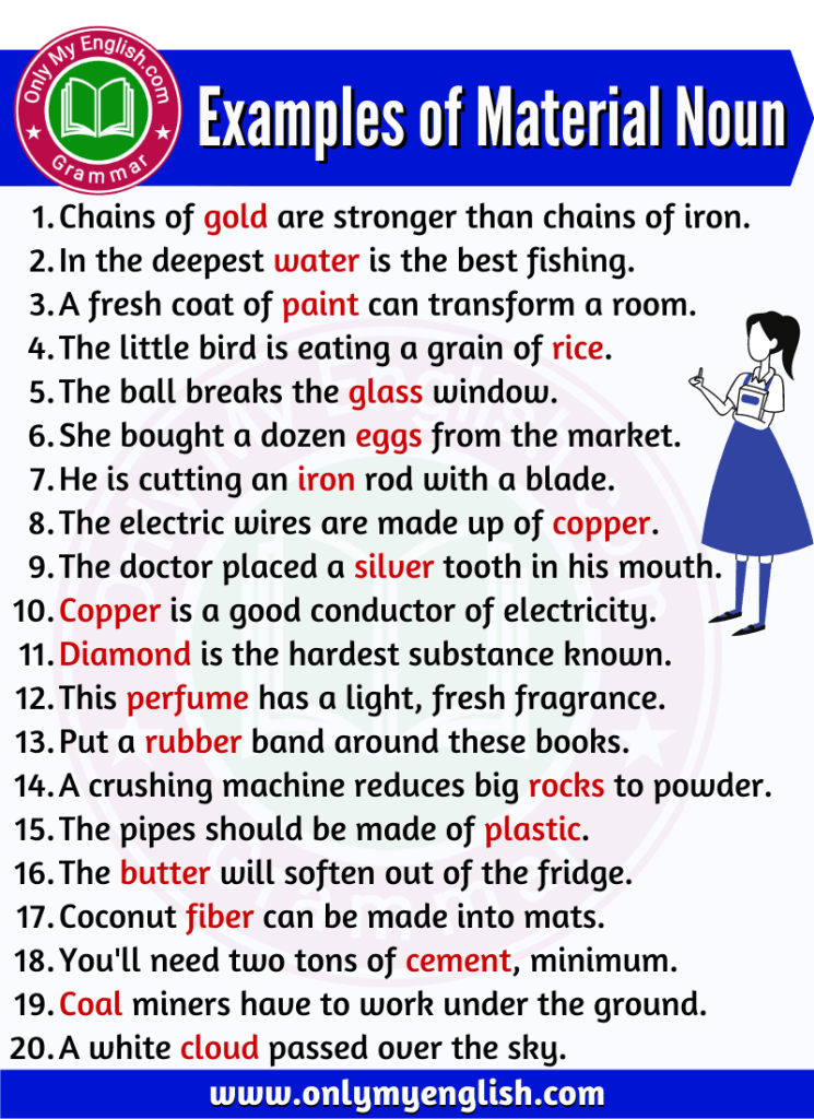 examples of material noun are in sentences