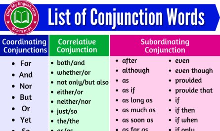 list of conjunctions words