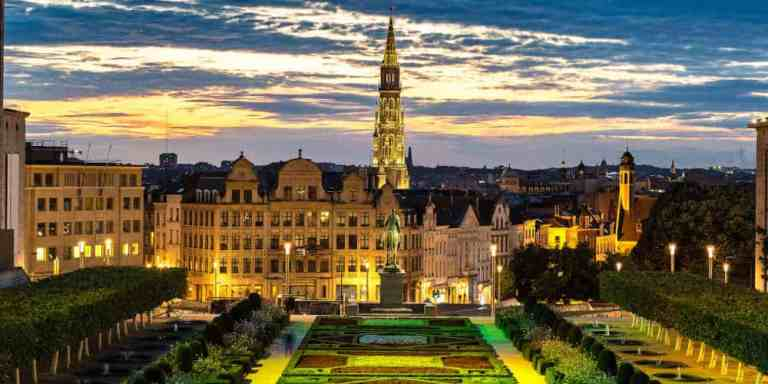 Cityscape of Brussels on a beautiful summer night