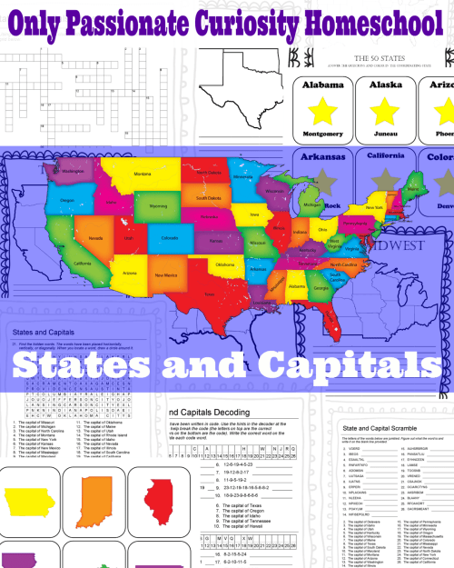 small resolution of States and Capitals Printable Flash Cards and Worksheets - Only Passionate  Curiosity