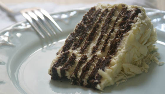 A slice of White Chocolate Lavender Icebox Cake