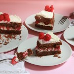 Flourless Chocolate Almond Torte with Raspberries & White Chocolate Whipped Cream