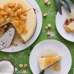 Pina Colada Cheesecake with a Macadamia Nut Crust and Pineapple Compote