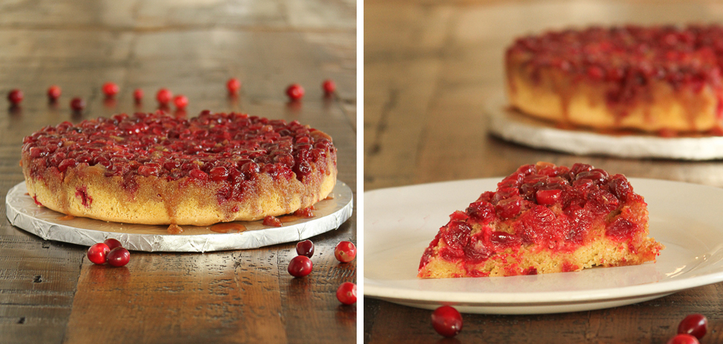 Cranberry Upside Down Cake makes the perfect holiday dessert! #gfree