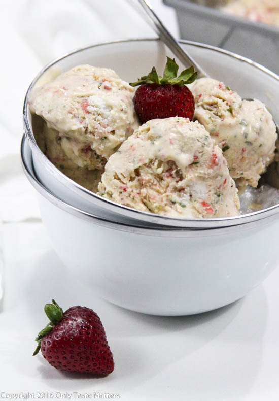 No Churn Paleo Strawberry Basil Ice Cream | Only Taste Matters